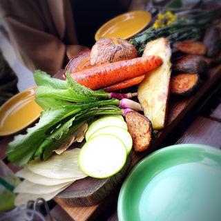 本日収穫した数種類の生野菜盛り バーニャカウダソース(WE ARE THE FARM (ウィーアーザファーム))