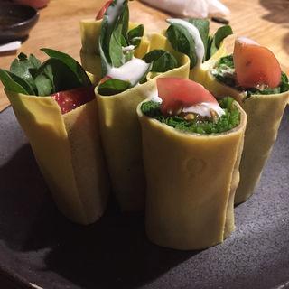 ホーレン草玉子巻きサラダ(池田屋)