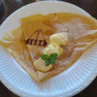 メープルシロップの塩バタークレープ 自家製プリンを添えて(cafe1894)