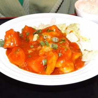 フレッシュトマトの大海老チリソース+ご飯セット(健康中華庵 青蓮 川崎西口店)