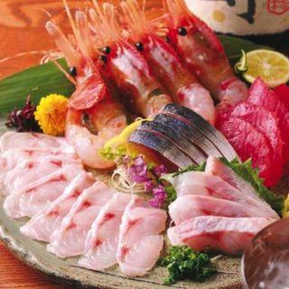 のどぐろ刺身・薄造り鮮魚五点盛り合せ 2人前(銀座 中俣)
