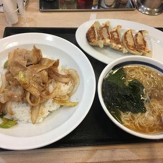 豚焼肉丼セット +餃子付き(中華東秀 新丸子店 )