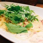 湯葉とベーコンと水菜のクリームスパゲティー