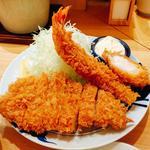 ロースかつと海老フライ定食