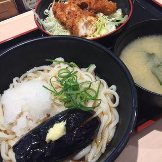 稲庭風冷やし茄子ぶっかけうどん ミニソースささみかつ丼セット(松のや 貝塚店)