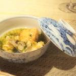 牡蠣の天麩羅とえび芋の揚げ物 海苔の餡