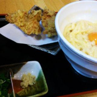 釜玉うどん+鶏天(三ツ島真打)