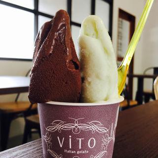 カカオソルベとアップルパイン(Vito 太宰府店)