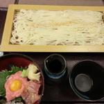 まぐろの二色丼とミニ稲庭風うどん(かごの屋 堺もず店 (かごのや))