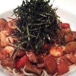 エビと地中海野菜の中華風スパ