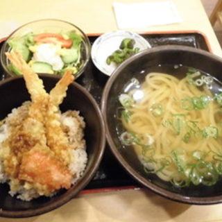 海老天丼セット(本場さぬきうどん げんき家)