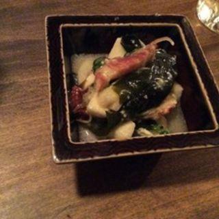 焼きイカと菜の花酢味噌和え(虎轍)