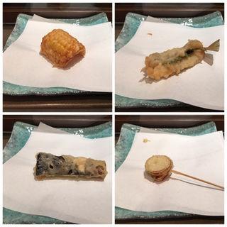 コーン、きす、ナス、小玉ねぎ(日本料理 「源氏」 ヒルトン名古屋 (げんじ))
