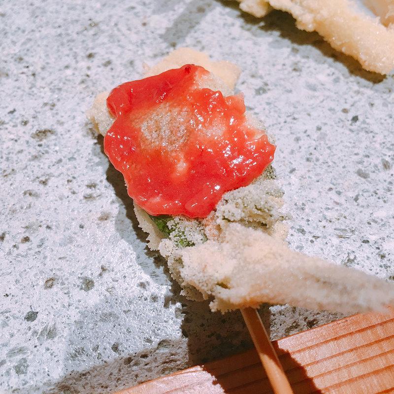 きすの大葉揚げ梅肉ソース