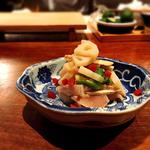 鶏笹身・長芋・大葉 梅和え