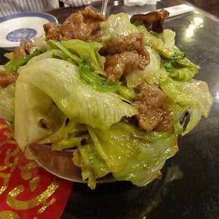 かき油の牛肉レタス炒め(慶楽)