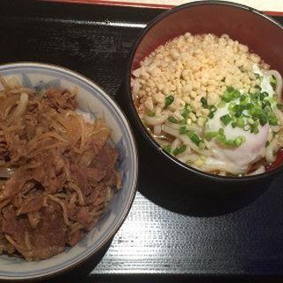 和:冷やし温玉うどん・牛肉丼(レストラン 千味 )