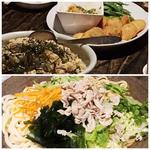 食べ飲み放題テーブルバイキング((豚しゃぶうどん、具だくさんの酢飯?、チーズ磯辺揚げ)