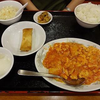 エビチリソース炒めセット (蓮香園新館)