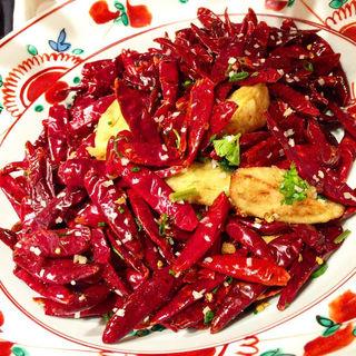 茄子の唐揚げ唐辛子と山椒風味炒め