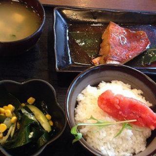 金目鯛煮付け、明太子ご飯(池のや )