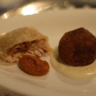 岩魚と杏茸の煮込みのシュトリューデル(銀座ハプスブルク・ファイルヒェン )