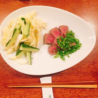 佐賀牛のロースト ネギまみれ 白菜ときゅうりのサラダ添え(コノ花まひろ )