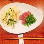 佐賀牛のロースト ネギまみれ 白菜ときゅうりのサラダ添え
