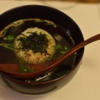 ジャコ菜飯の焼きおにぎり茶漬け(浅草 おと)