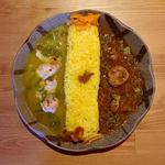 蒸し鶏と柚子胡椒のスパイシー冷製カレー & 帆立とあさりのレッドカレー