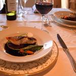 白身魚のグリル イカスミソース