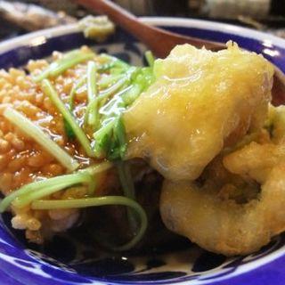平目の天ぷらとおこげの餡かけ(立ち呑みの さのや)