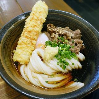 肉ぶっかけ温泉玉子のせ+鯛ちくわ天ぷら(うどん屋 きすけ )