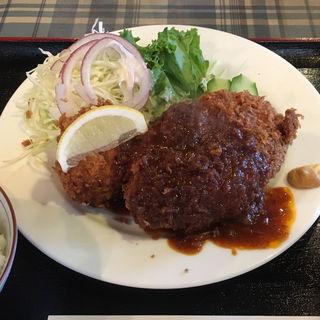 メンチカツとカニクリームコロッケ(キッチン一力 (イチリキ))