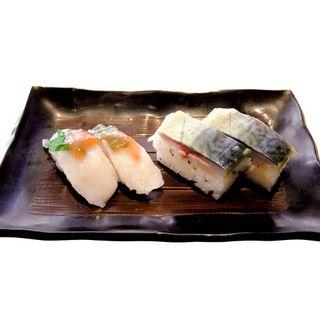 柳だこ梅しそにぎり(季節限定品)、京風鯖寿司(チョウジロウ 二子玉川店)