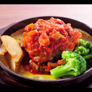 季節野菜トマトソースリッチバーグ(浅草グリルバーグ)