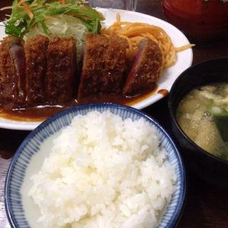 ビフカツ(ごはん・お味噌汁付)(洋食の朝日)