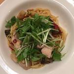 チキンと水菜のペペロンチーノ