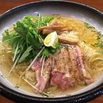 阿波尾鶏とすだちの冷し(醤油と貝と麺 そして人と夢 )