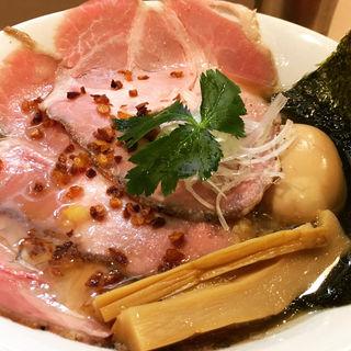 味玉金色貝そば チャーシュー増し(燃えよ麺助)
