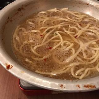 もつ鍋 醤油の〆ちゃんぽん麺(博多もつ処 東屋あずまや)