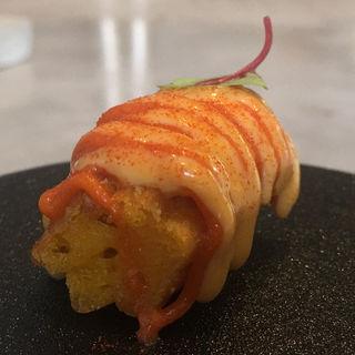 雲丹と西京味噌のマヨネーズ パプリカのキャラメリゼ 人参のチュロス(ode)
