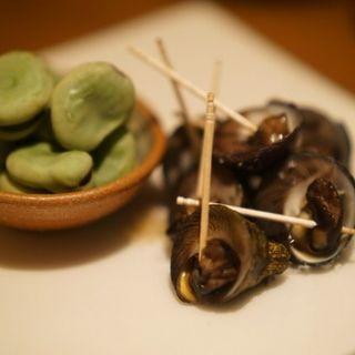 塩ゆで空豆とシッタカの旨煮の合い盛り