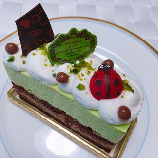 ピスタチオとミルクチョコケーキ(パティスリーメルキュール )