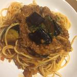 茄子のミートソーススパゲティ