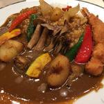 海老フライと秋野菜カレー