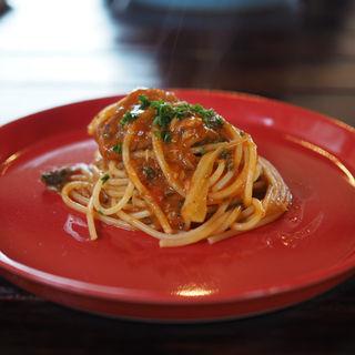 鯖とセロリのパスタ(Cafe てくり)