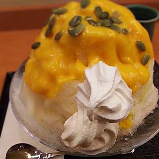 かぼちゃあずきソフトクリーム氷(茶寮 煉 )