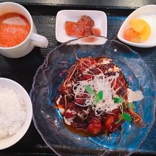鶏カラアゲのピリ辛甘みそ炒め(ぎはんえびすどう)