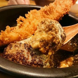 山本のハンバーグ+大エビフライトッピング(山本のハンバーグ 渋谷食堂)